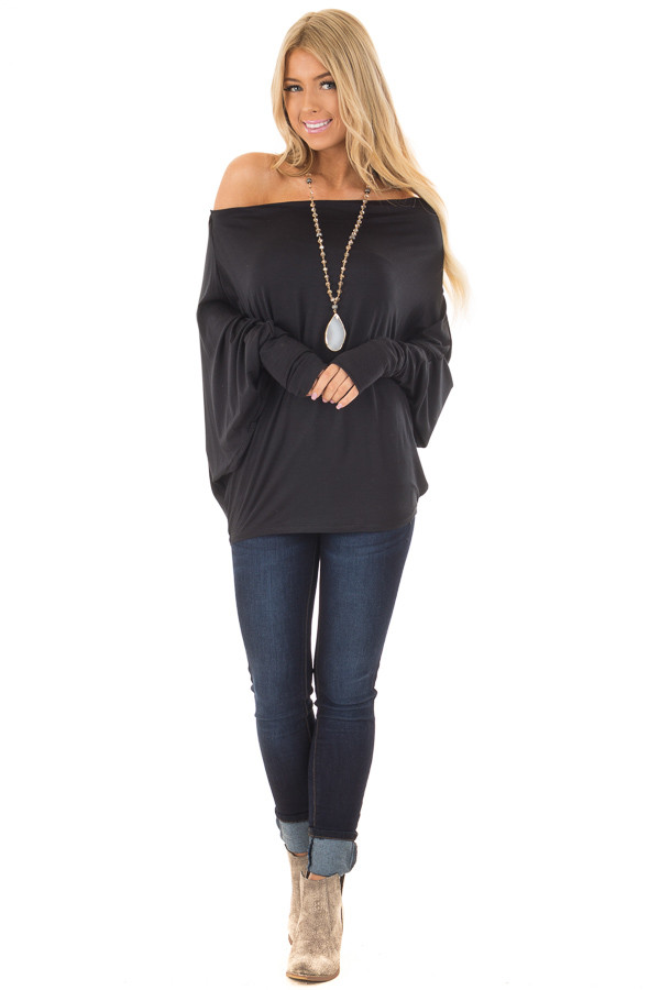 Black Oversized Off the Shoulder Top front full body