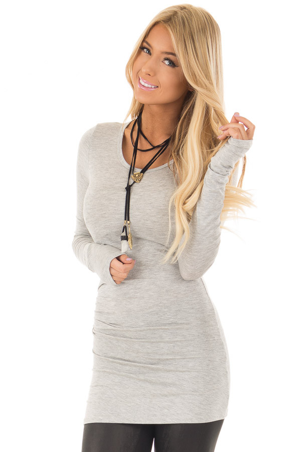 Heather Grey Long Sleeve Fitted Top front closeup