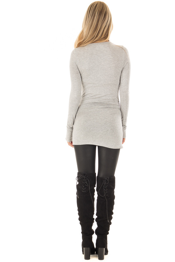 Heather Grey Long Sleeve Fitted Top back full body