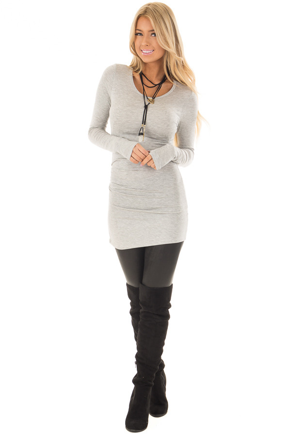 Heather Grey Long Sleeve Fitted Top front full body