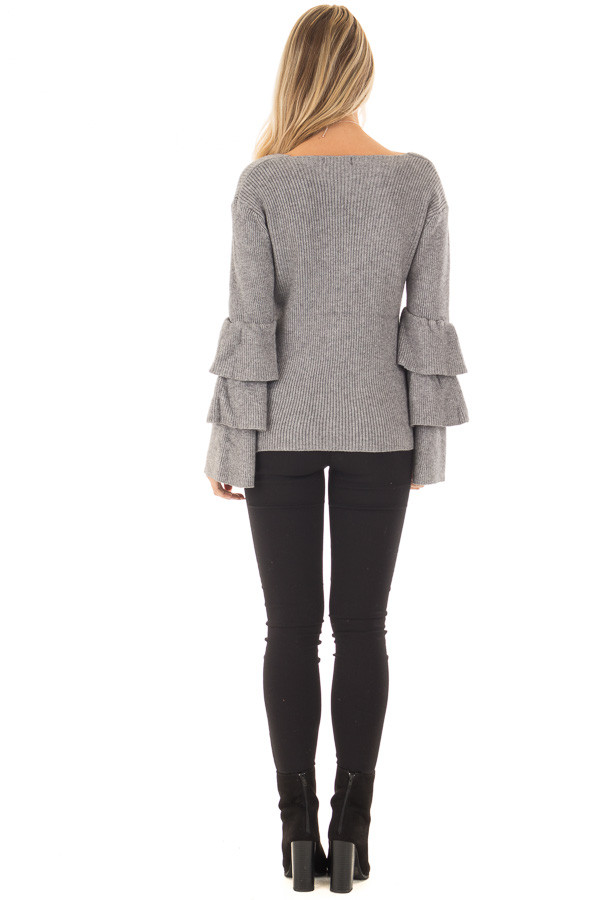 Cloud Grey V Neck Soft Sweater with Tiered Bell Sleeves back full body