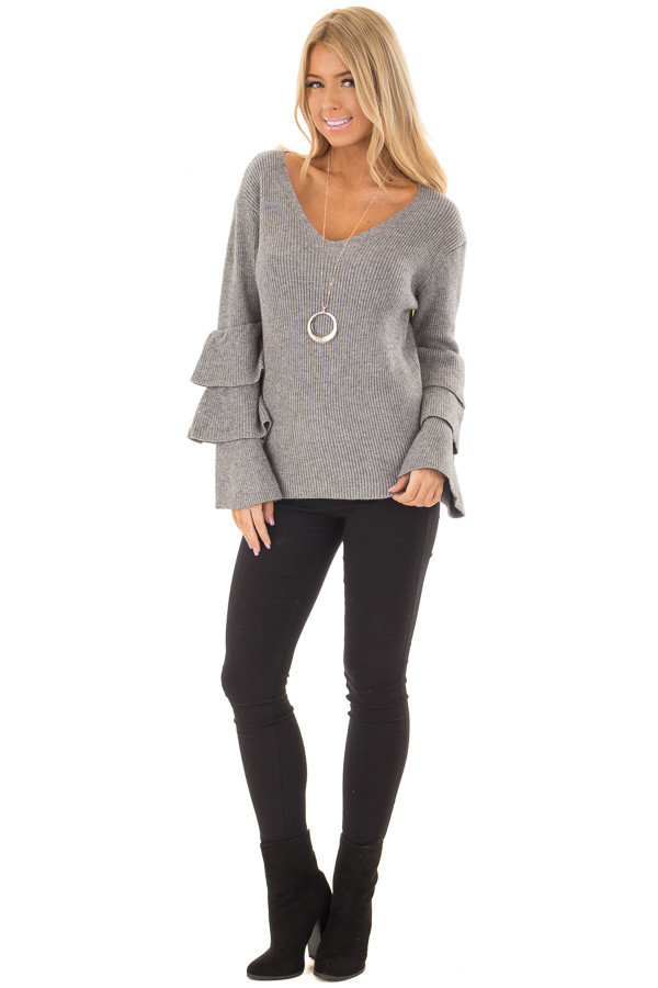 Cloud Grey V Neck Soft Sweater with Tiered Bell Sleeves front full body