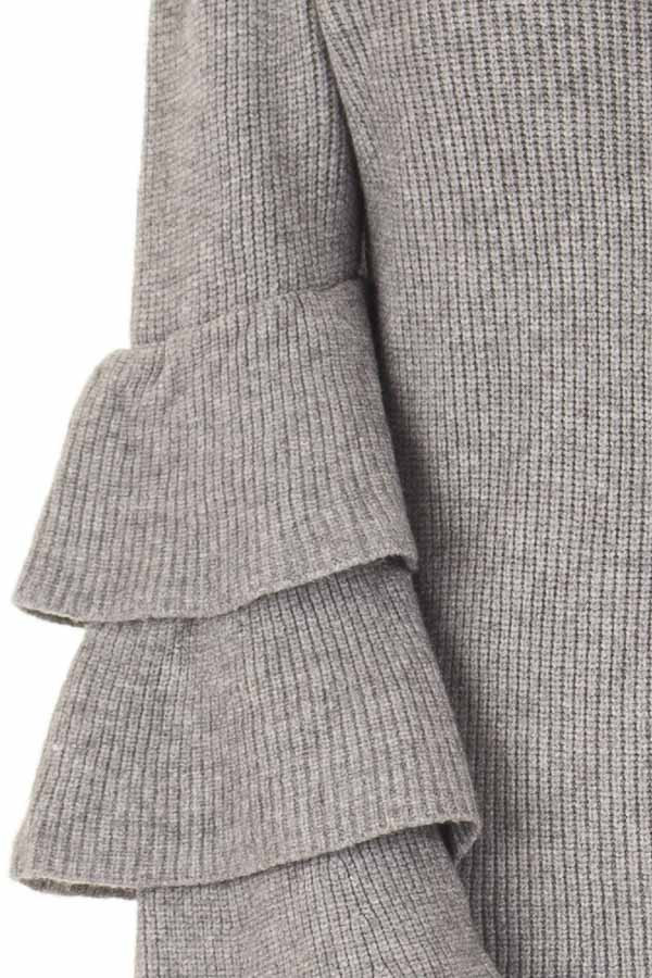 Cloud Grey V Neck Soft Sweater with Tiered Bell Sleeves front detail