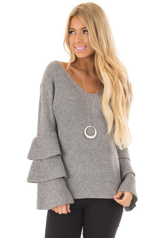 Cloud Grey V Neck Soft Sweater with Tiered Bell Sleeves front closeup
