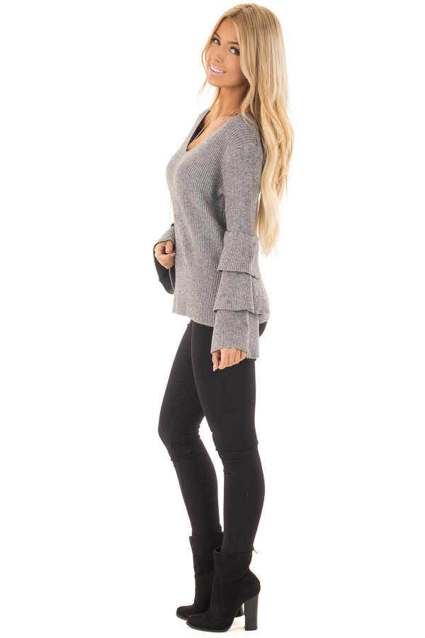 Cloud Grey V Neck Soft Sweater with Tiered Bell Sleeves side full body