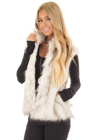 Off White and Dark Brown Faux Fur Vest front closeup