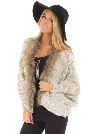 Off White Cable Knit Dolman Cardigan with Faux Fur Trim front closeup