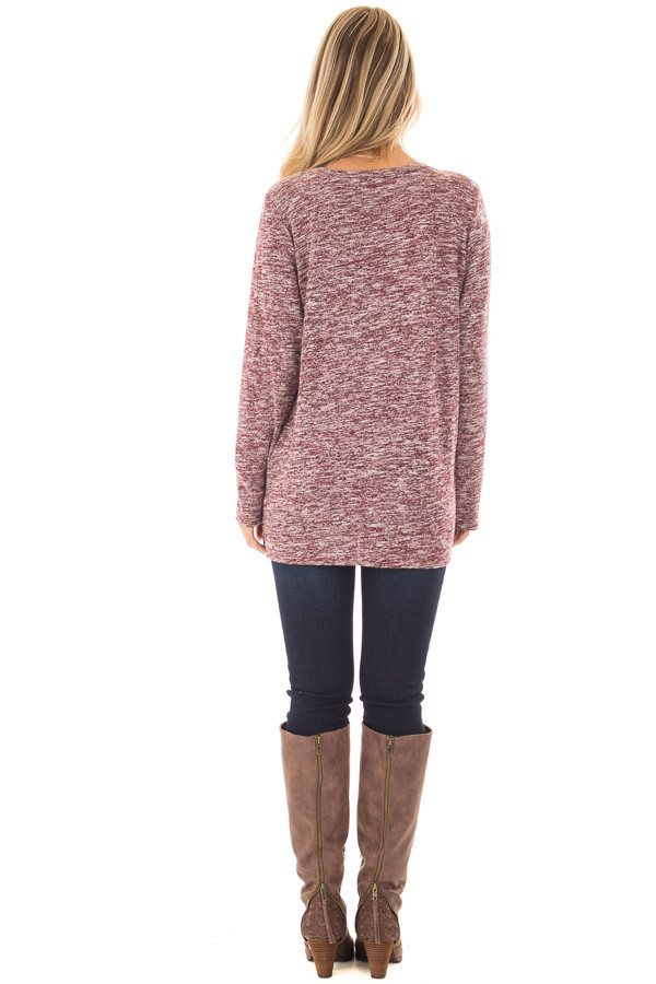 Burgundy Two Tone Long Sleeve Top with Twisted Side Knot back full body