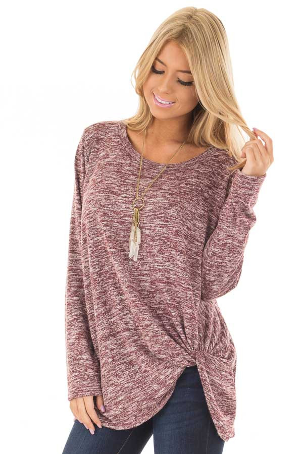 Burgundy Two Tone Long Sleeve Top with Twisted Side Knot front closeup