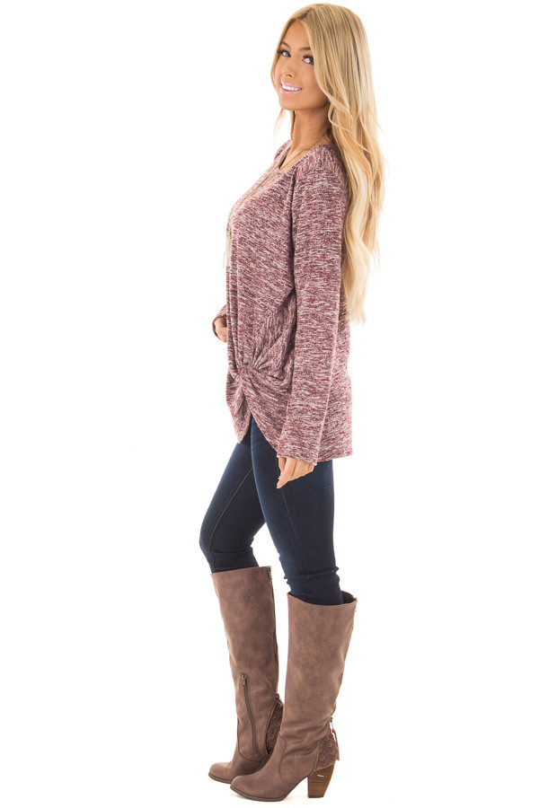 Burgundy Two Tone Long Sleeve Top with Twisted Side Knot side full body