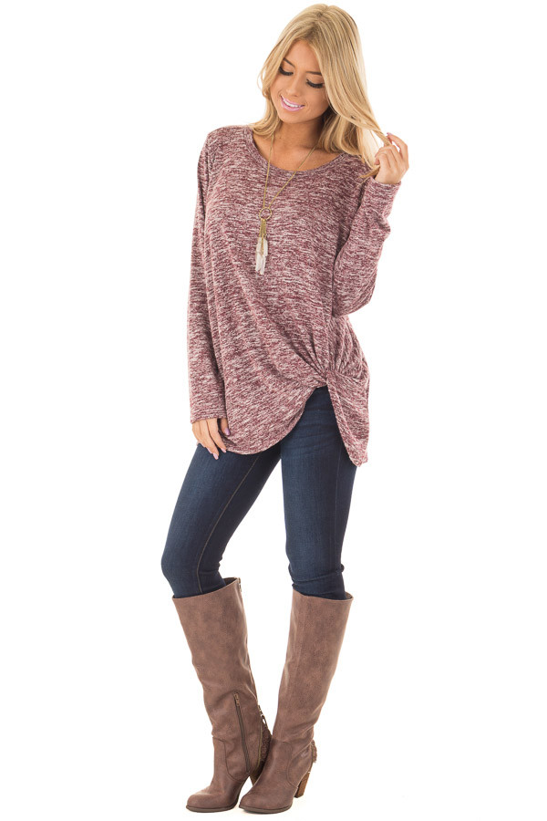 Burgundy Two Tone Long Sleeve Top with Twisted Side Knot front full body