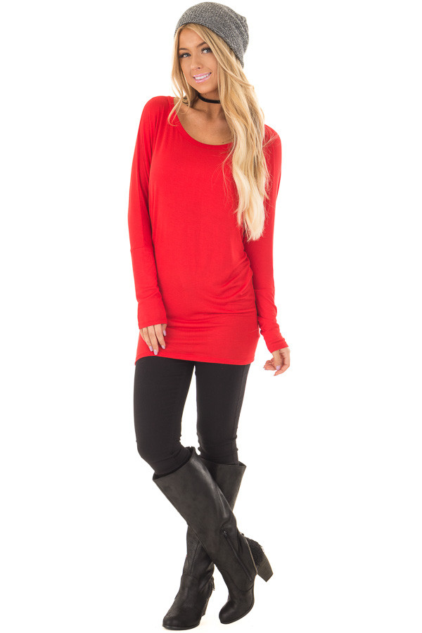 Cherry Red Boatneck Top with Dolman Sleeves front full body