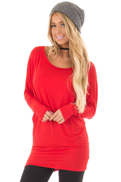 Cherry Red Boatneck Top with Dolman Sleeves front closeup
