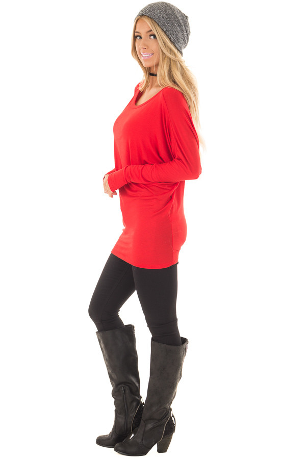 Cherry Red Boatneck Top with Dolman Sleeves side full body