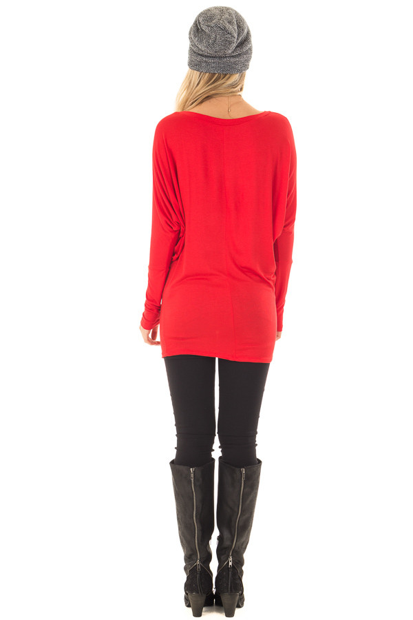 Cherry Red Boatneck Top with Dolman Sleeves back full body