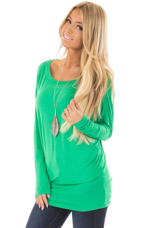 Kelly Green Boatneck Top with Dolman Sleeves front closeup