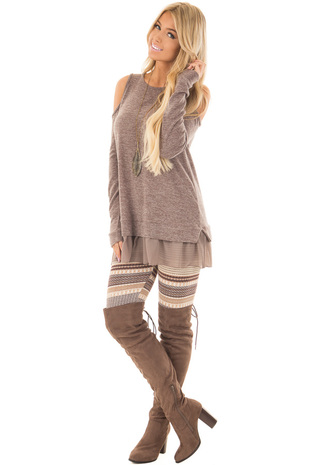 Oatmeal Detailed Striped Knit Leggings front full body