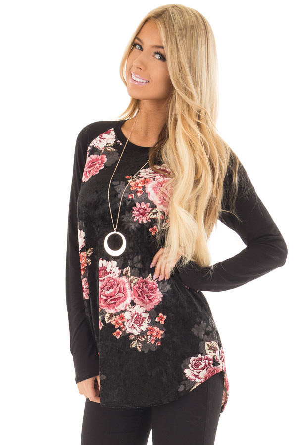 Black Crushed Velvet Floral Top with Knit Raglan Sleeves front closeup