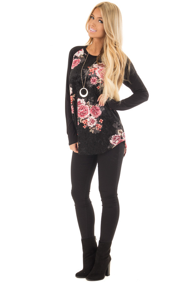 Black Crushed Velvet Floral Top with Knit Raglan Sleeves front full body