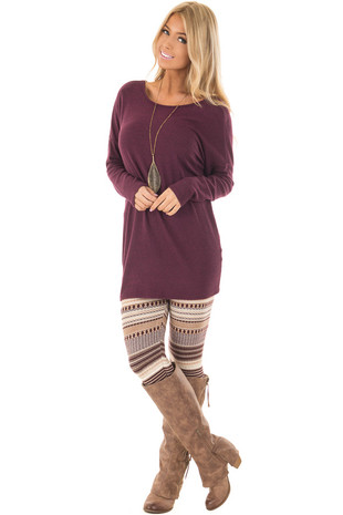 Burgundy Detailed Striped Knit Leggings front full body
