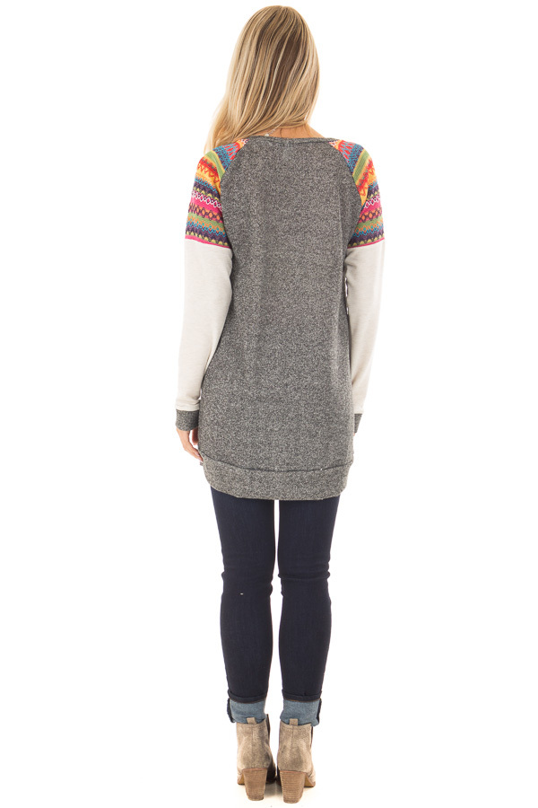 Grey Tunic with Oatmeal Sleeves and Colorful Shoulders back full body