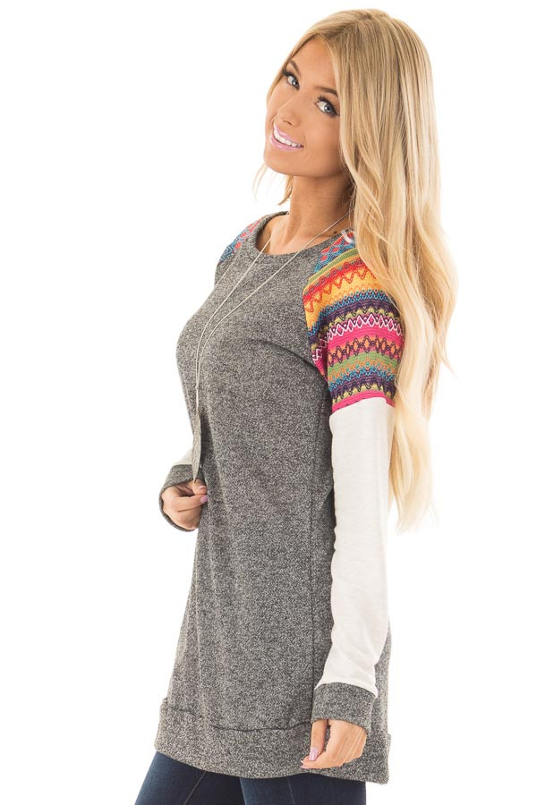 Grey Tunic with Oatmeal Sleeves and Colorful Shoulders side closeup