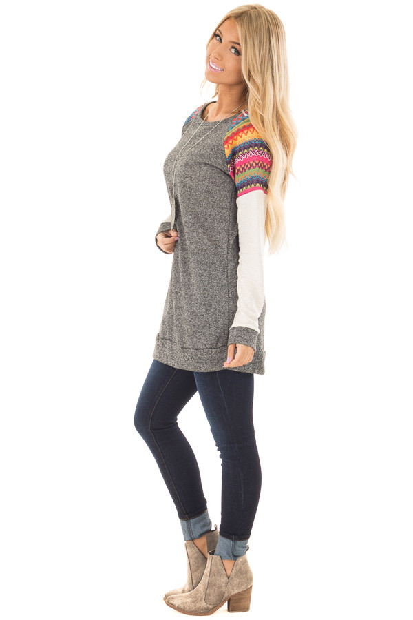 Grey Tunic with Oatmeal Sleeves and Colorful Shoulders side full body