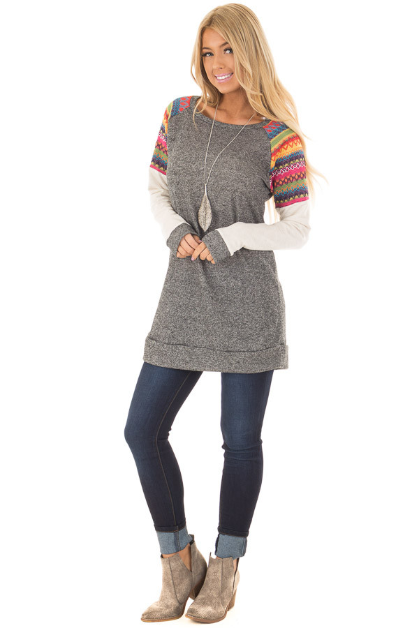 Grey Tunic with Oatmeal Sleeves and Colorful Shoulders front full body