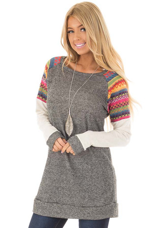 Grey Tunic with Oatmeal Sleeves and Colorful Shoulders front closeup