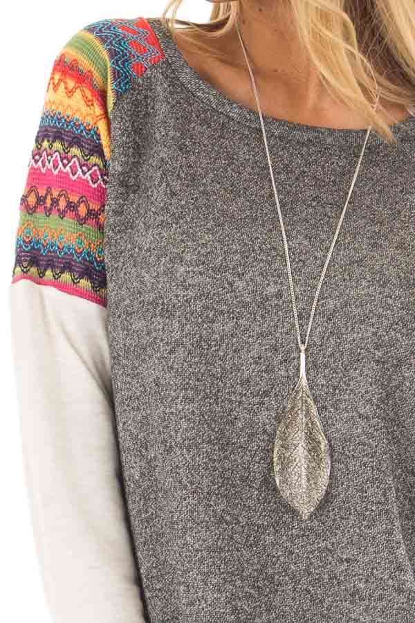 Grey Tunic with Oatmeal Sleeves and Colorful Shoulders front detail