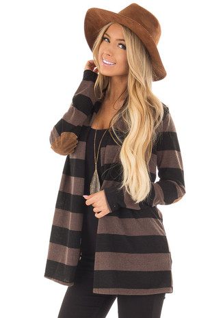 Mocha and Black Thick Striped Cardigan with Elbow Patches front closeup