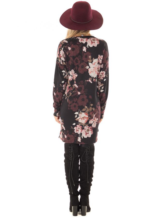 Black Floral Print Long Sleeve Tunic back full body