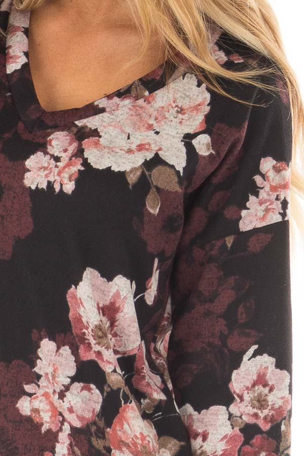 Black Floral Print Long Sleeve Tunic front detail