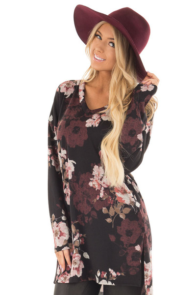 Black Floral Print Long Sleeve Tunic front closeup