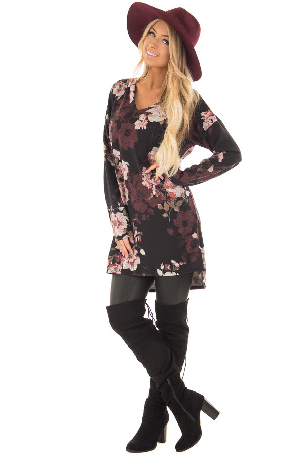 Black Floral Print Long Sleeve Tunic front full body