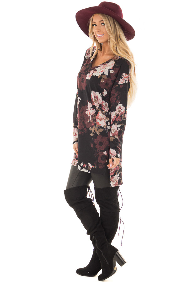 Black Floral Print Long Sleeve Tunic side full body