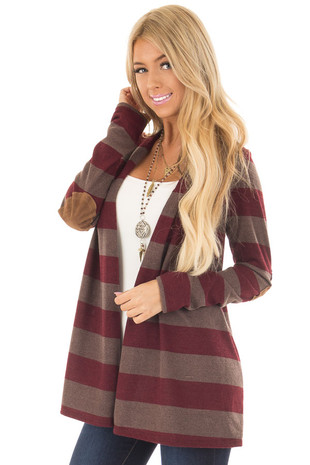 Wine and Mocha Thick Striped Cardigan with Elbow Patches front closeup