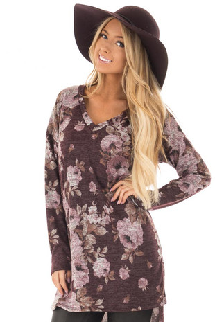 Wine Floral Print Long Sleeve Tunic front closeup