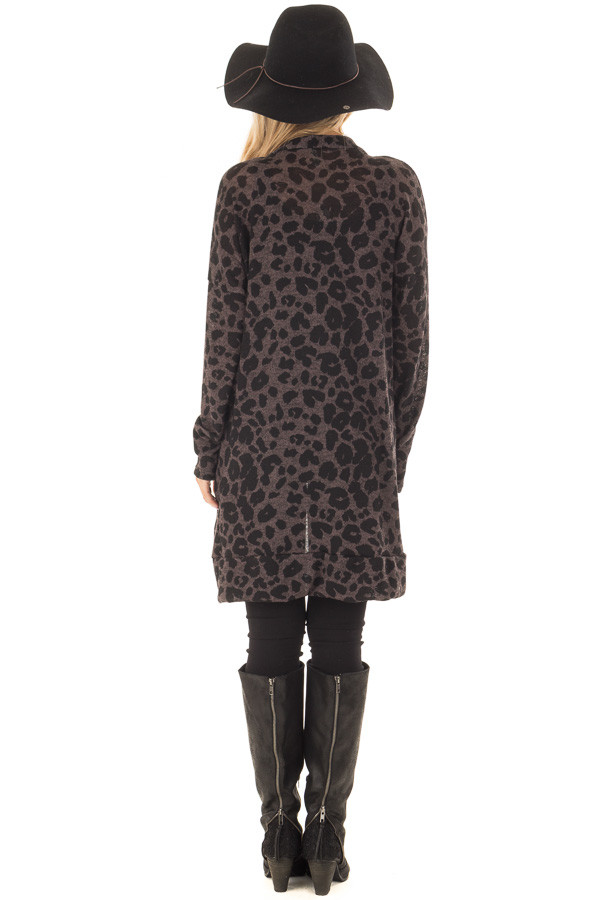 Charcoal Leopard Print Knit Cardigan with Side Pockets back full body