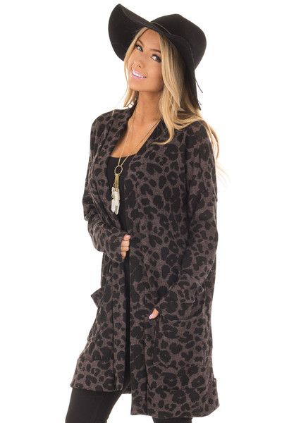 Charcoal Leopard Print Knit Cardigan with Side Pockets front closeup