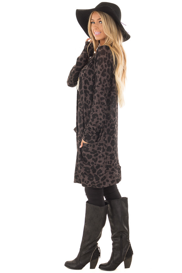 Charcoal Leopard Print Knit Cardigan with Side Pockets side full body