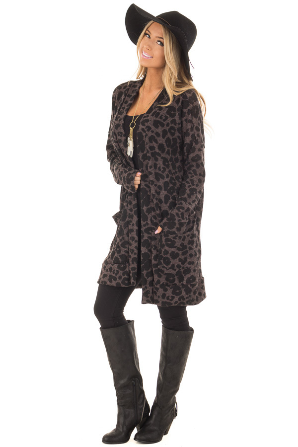 Charcoal Leopard Print Knit Cardigan with Side Pockets front full body