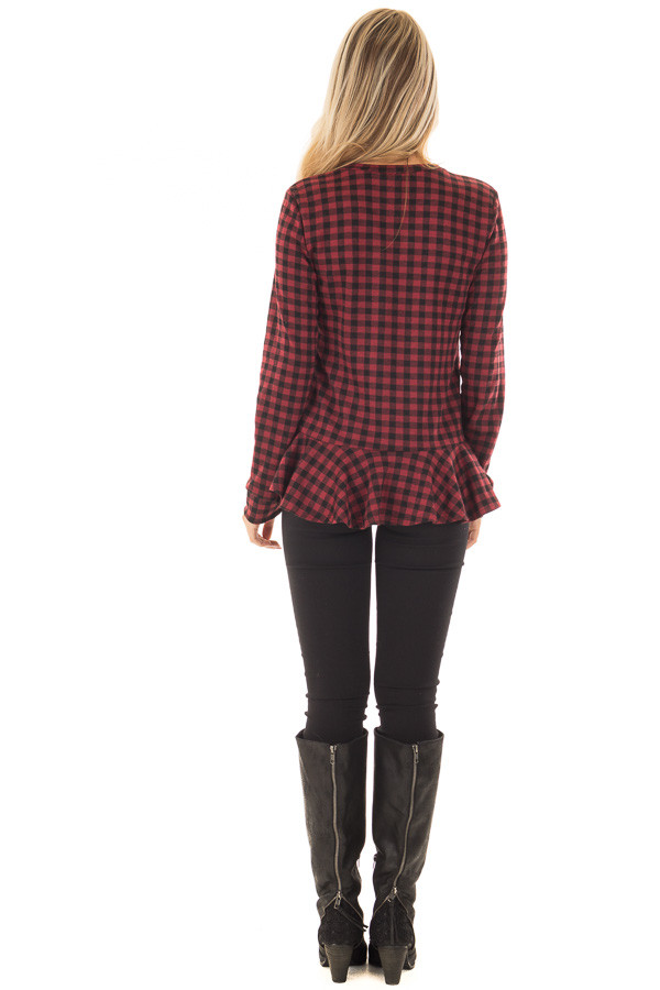 Burgundy Plaid Top with Wrapped Ruffle Detail back full body