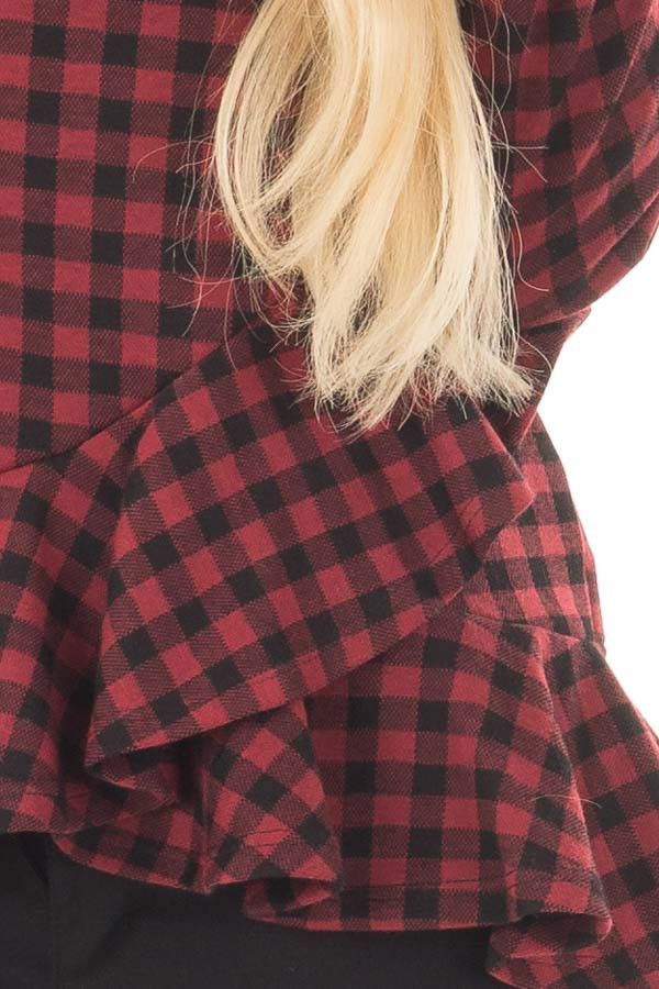 Burgundy Plaid Top with Wrapped Ruffle Detail front detail