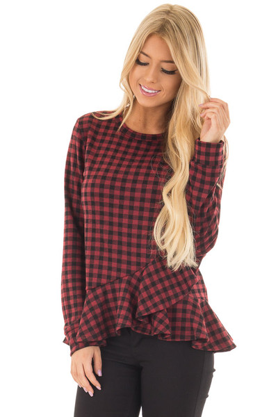 Burgundy Plaid Top with Wrapped Ruffle Detail front closeup