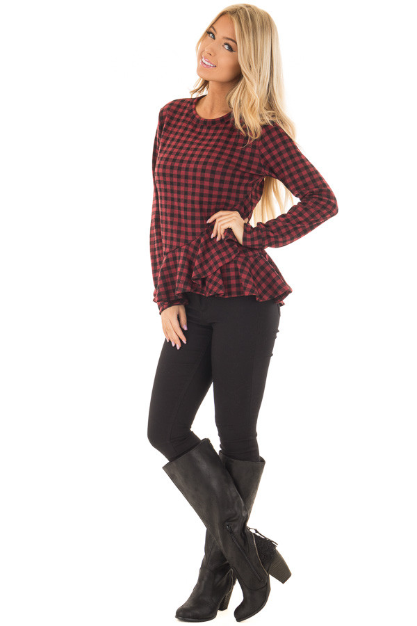 Burgundy Plaid Top with Wrapped Ruffle Detail front full body