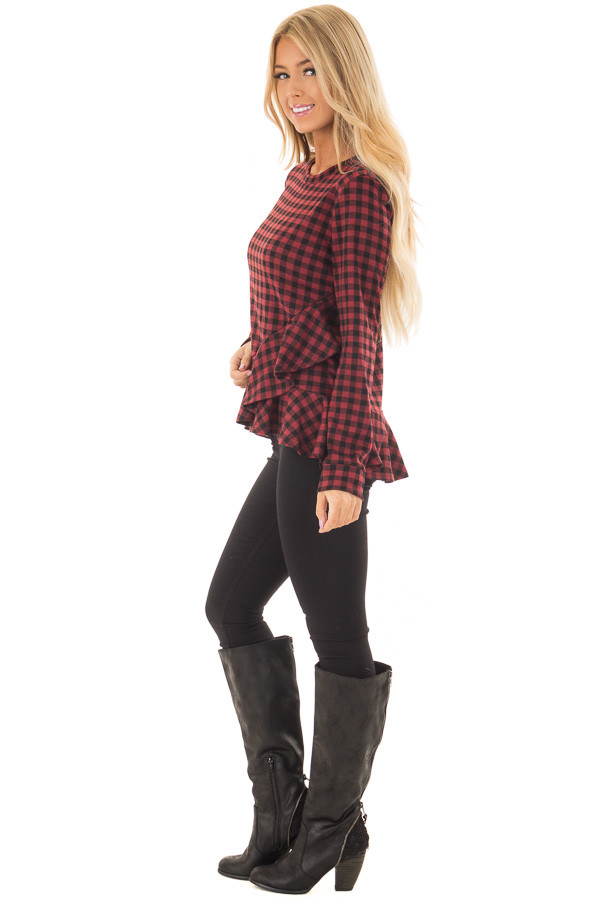 Burgundy Plaid Top with Wrapped Ruffle Detail side full body