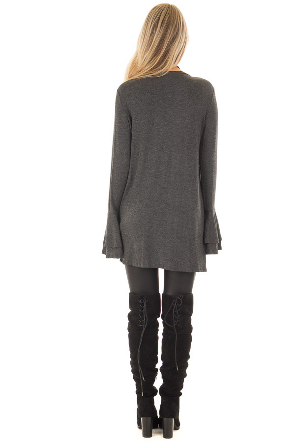 Charcoal Tiered Bell Sleeve Top with Twist Front Detail back full body