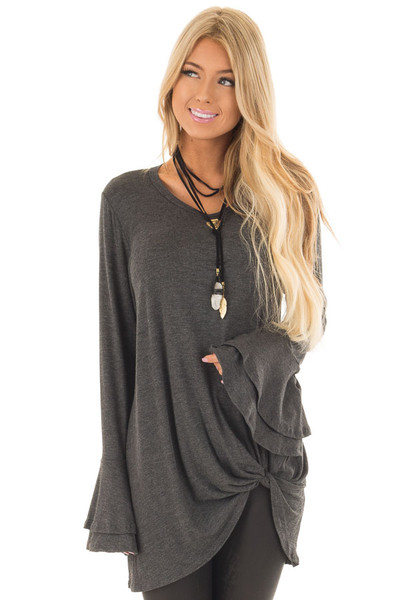Charcoal Tiered Bell Sleeve Top with Twist Front Detail front closeup