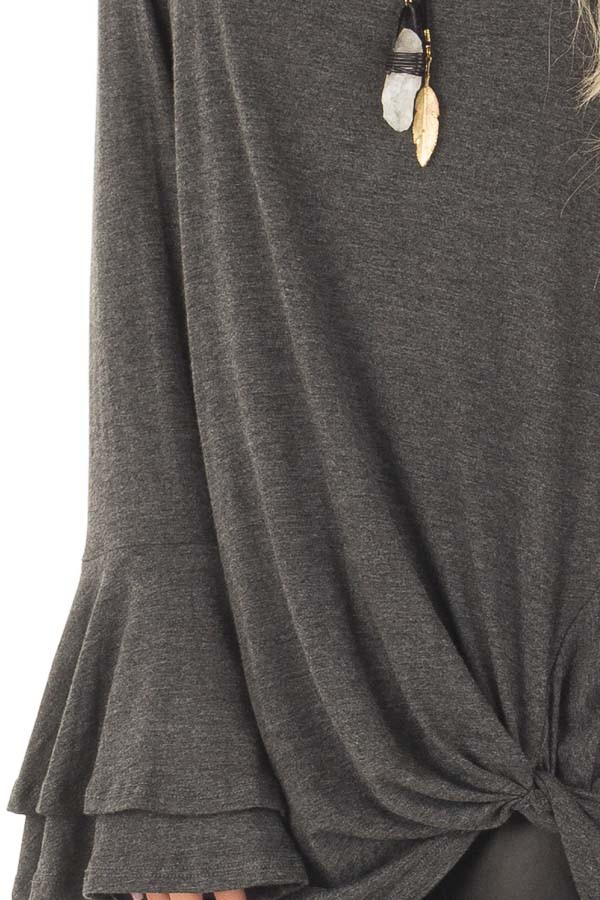 Charcoal Tiered Bell Sleeve Top with Twist Front Detail front detail